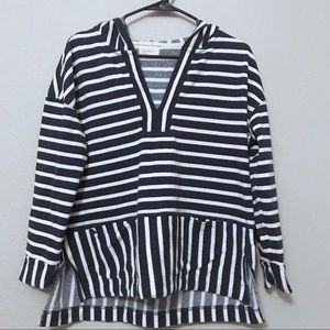 Melloday Navy Striped Pullover Hoodie Size Medium
